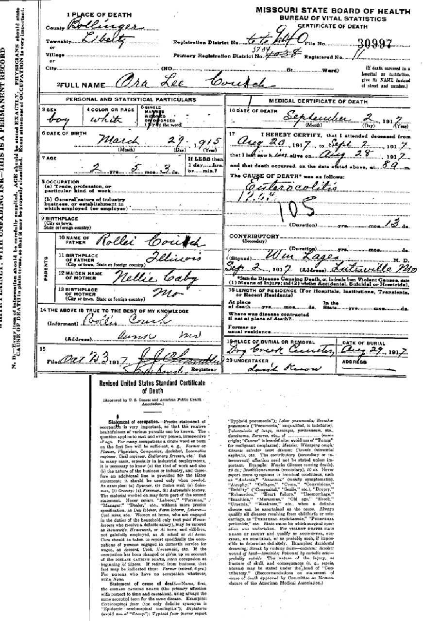 Documents 1917 Mo Death Certificate Ora Lee Couch Adkins Horton