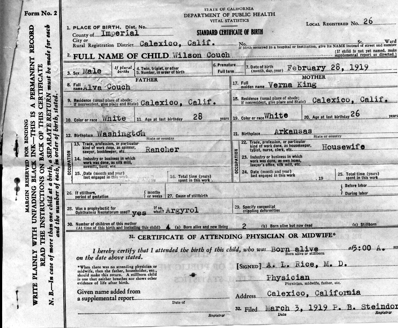 Documents 1919 Ca Birth Certificate Wilson Couch Adkins Horton