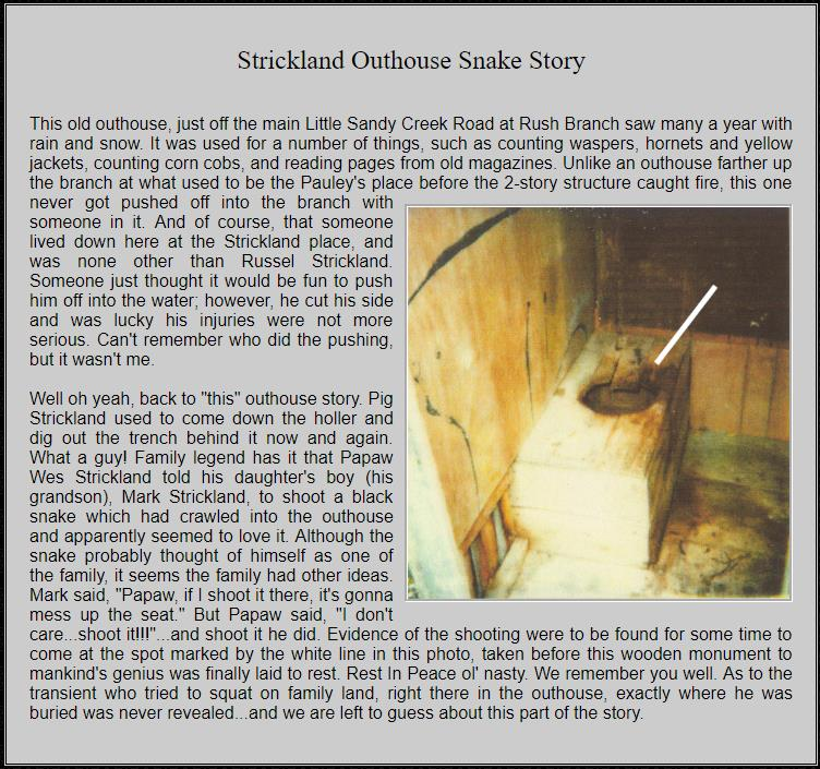 Strickland Outhouse Snake Shot Story